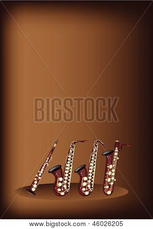Different Kind Of Saxophone On Dark Brown Background