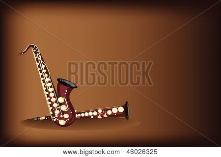 Different Kind Of Saxophone On Dark Brown Background