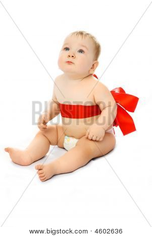 Cute Baby With A Red Ribbon