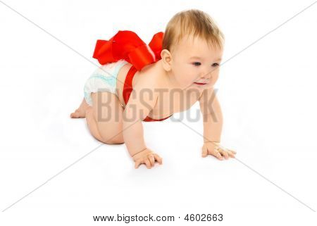 Cute Baby Tied Up With A Red Ribbon