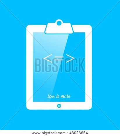Conceptual illustration of a clipboard tablet with the arithmetic equation and text for the metaphor Less Is More on a turquoise blue background