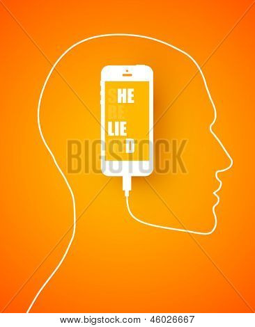 Conceptual design with a mobile phone cord forming a profile outline of a male head with the device inside displaying the text message on the screen.