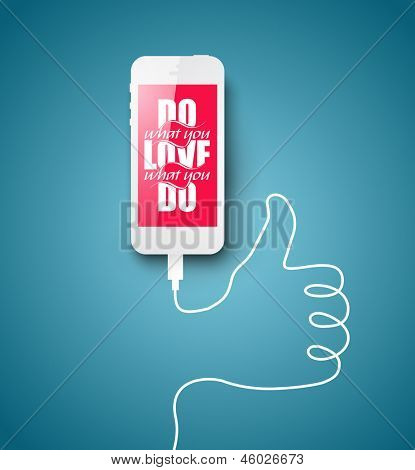 "Minimal illustration with smart phone and inspirational writing and wire forming ""like"" sign. Optimistic background for your message. Simple and original vector design."