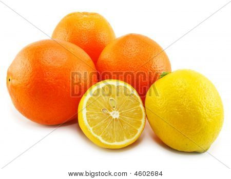 Citrus Fruits (lemon And Orange) Isolated