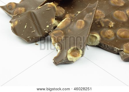 Piece of chocolate with nuts