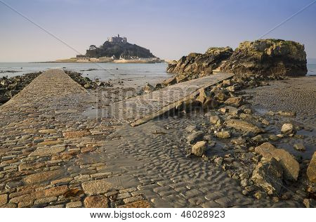 St Michael's Mount from Marazion low tide landscape