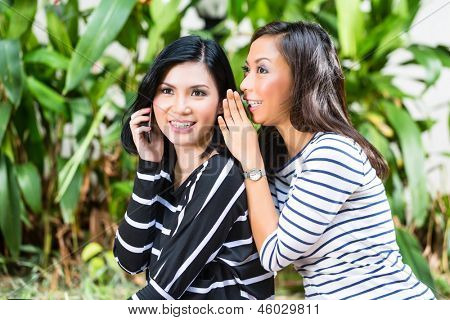 Two Indonesian friends, in a tropical environment, one with Smartphone, the other whispers to her, and gives tips