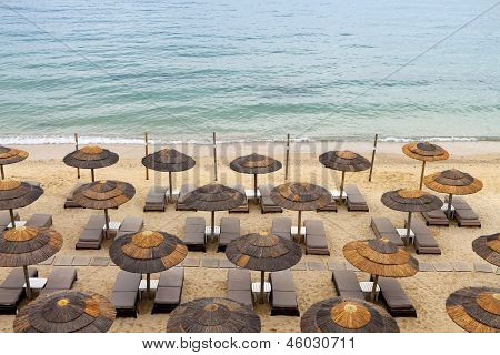 Sunny beach in a Greek island