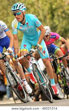 BARCELONA - MARCH, 24: Alexsandr Dyachenko of Astana rides during the Tour of Catalonia cycling race through the streets of Monjuich mountain in Barcelona on March 24, 2013