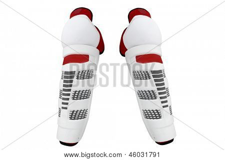 The image of part of hockey protective uniform under the white background