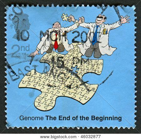 UK - CIRCA 2003: Um selo imprimido em UK mostra imagem do Completeing o genoma de Jigsaw, 50º Annive