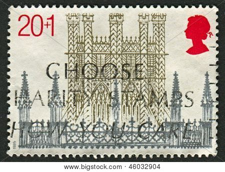 UK - CIRCA 1989: A stamp printed in UK shows image of the Octagon Tower, Christmas, 800th Anniversary of Ely Cathedral, circa 1989.