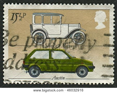 "UK - CIRCA 1982: A stamp printed in UK shows image of the Austin ""Seven"" and ""Metro"", British Motor Industry, circa 1982."