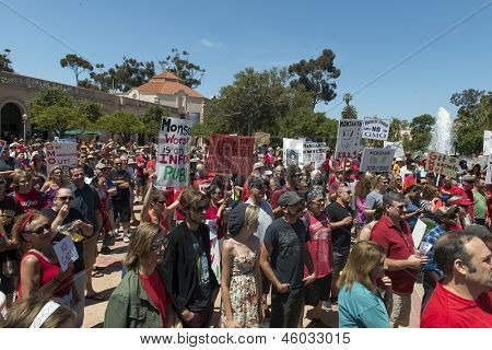 SAN DIEGO, CALIFORNIA - MAY 25: Protesters in Balboa Park as part of a global series of marches against the Monsanto Co. and genetically modified foods on May 25, 2013 in San Diego, California.