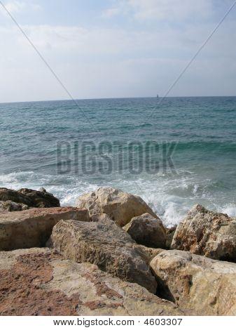Beach Of Mediterranean Sea In tel Aviv Israel