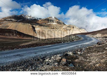 Manali-Leh road to Ladakh in Indian Himalayas near Baralacha-La pass. Himachal Pradesh, India