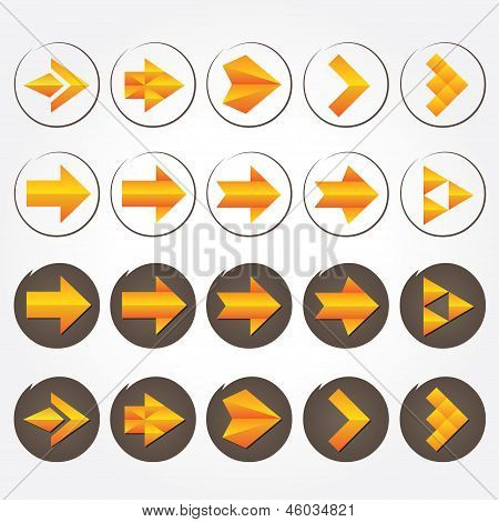 Orange volumetric vector arrows. Icon set.