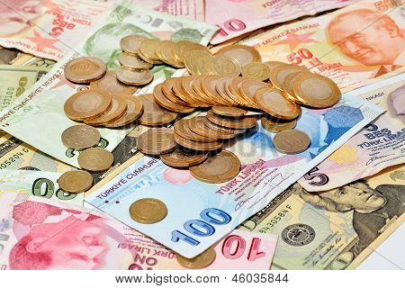 Coins On Money isolated