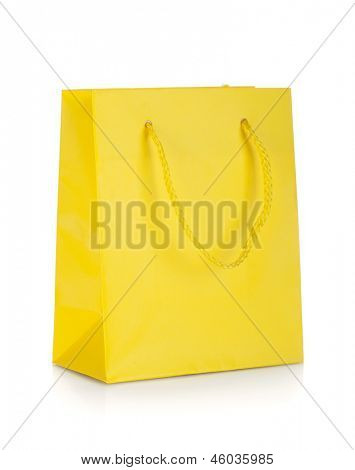 Yellow gift bag. Isolated on white background