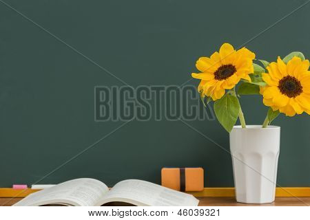 A blackboard and sunflower