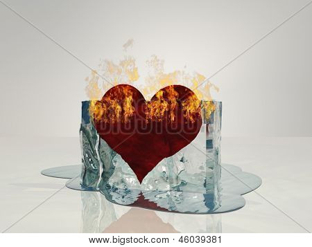 Heart on fire melting ice