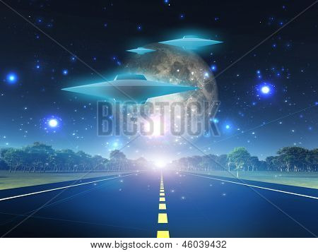 Alien craft on roadway in country