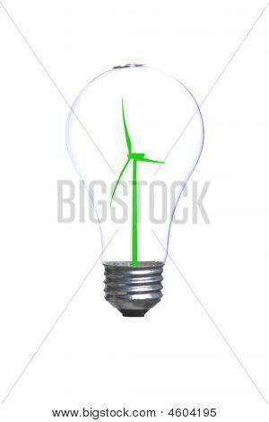 Person Holding A Modern Green Light Bulb