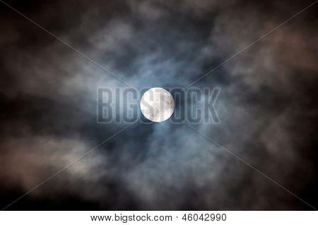Fulll moon on the night cloudy sky