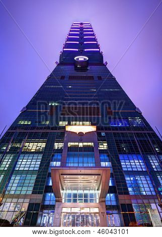 TAIPEI, TAIWAN - JANUARY 13: A view from directly below Taipei 101 on January 13, 2013 in Taipei, TW. The building is the world's second tallest at 509 meters.