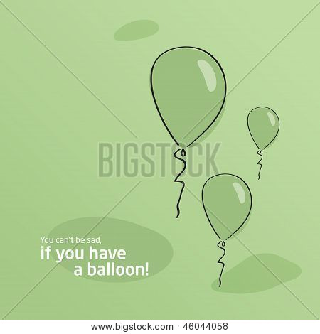 Green background. Baloon