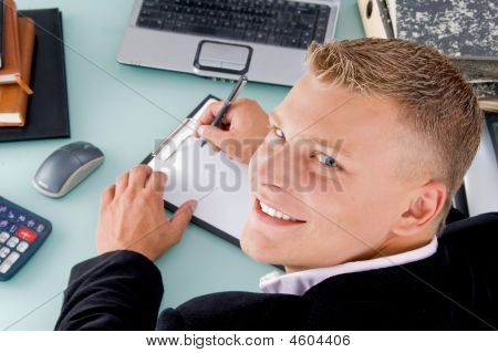 Manager With Pen And Writing Board