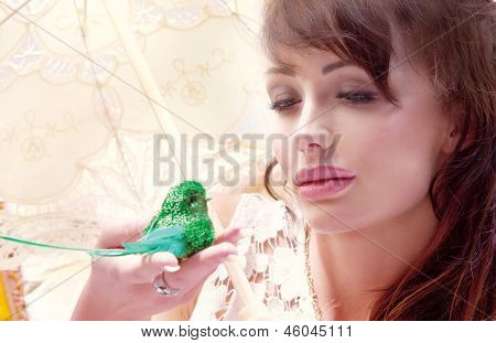 Conceptual Portrait Of Cute Lady With  Little Bird.