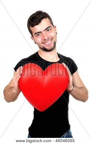 Portrait Of A Young Man Holding Heart