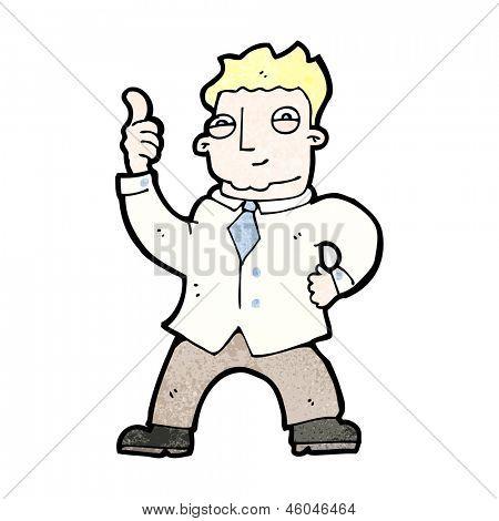 cartoon enthusiastic office man
