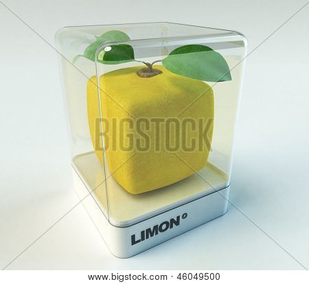 A cubic lemon in a showcase
