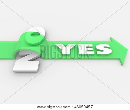 The word Yes on a green arrow over the word No to illustrate approval or agreement in the face of rejection or disagreement, and the competitive advantage of a positive attitude