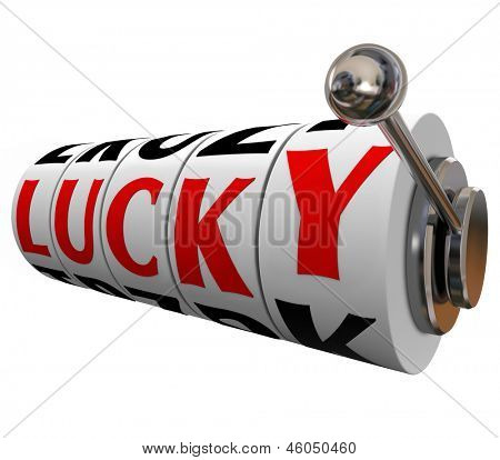 The word Lucky on slot machine wheels to illustrate good fortune or luck in a game of chance such as gambling in a casino or being fortunate in life or a career