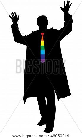 Vector Silhouette Of Excited Business Man With Rainbow Necktie