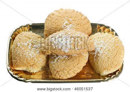 Typical Emilian Cakes Shortcrust Pastry Stuffed In A Golden Tray On White Background