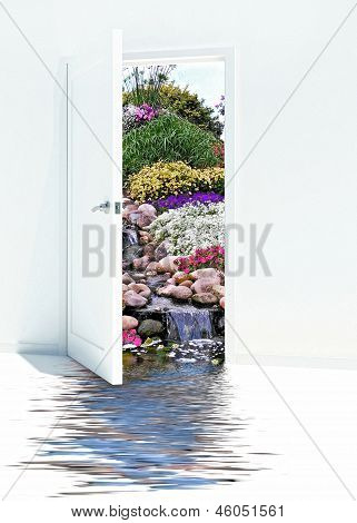 open door with waterfalls