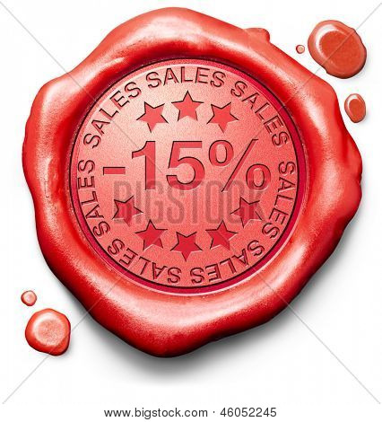 15% off sales summer or winter reduction extra low price buy for bargain limited offer icon red wax seal stamp