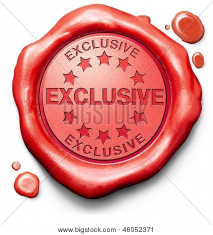 exclusive offer or VIP treatment rare high quality product with limited production icon seal or stamp