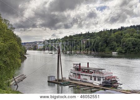 Historic Sternwheeler Docked Along Willamette River
