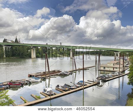 Boat Moorage Along Willamette River