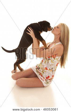 Woman Flower Dress Dog Kiss
