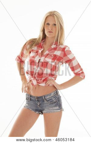 Woman Red Plaid Shirt Shorts Hands Stomach