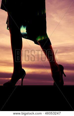 Womans Legs Dress Sunset Walk