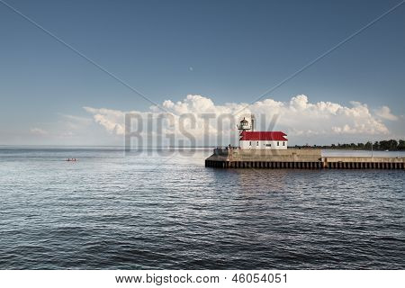 Lake Superior Lighthouse at the Canal Park in Duluth, MN