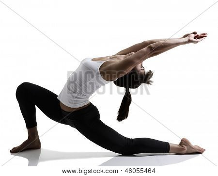 portrait of sport girl doing yoga stretching yoga exercise, studio shot in silhouette technique over white background
