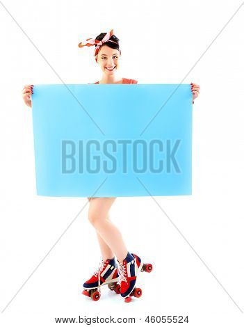 Pinup girl in retro roller skates holding empty banner, full length portrait of young happy sexy woman in pin-up style, vintage stylization over white